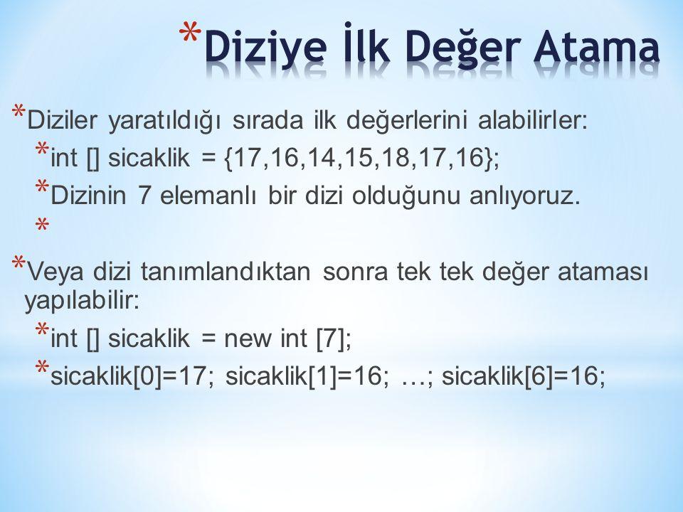 * Diziler yaratıldığı sırada ilk değerlerini alabilirler: * int [] sicaklik = {17,16,14,15,18,17,16}; * Dizinin 7 elemanlı bir dizi olduğunu anlıyoruz