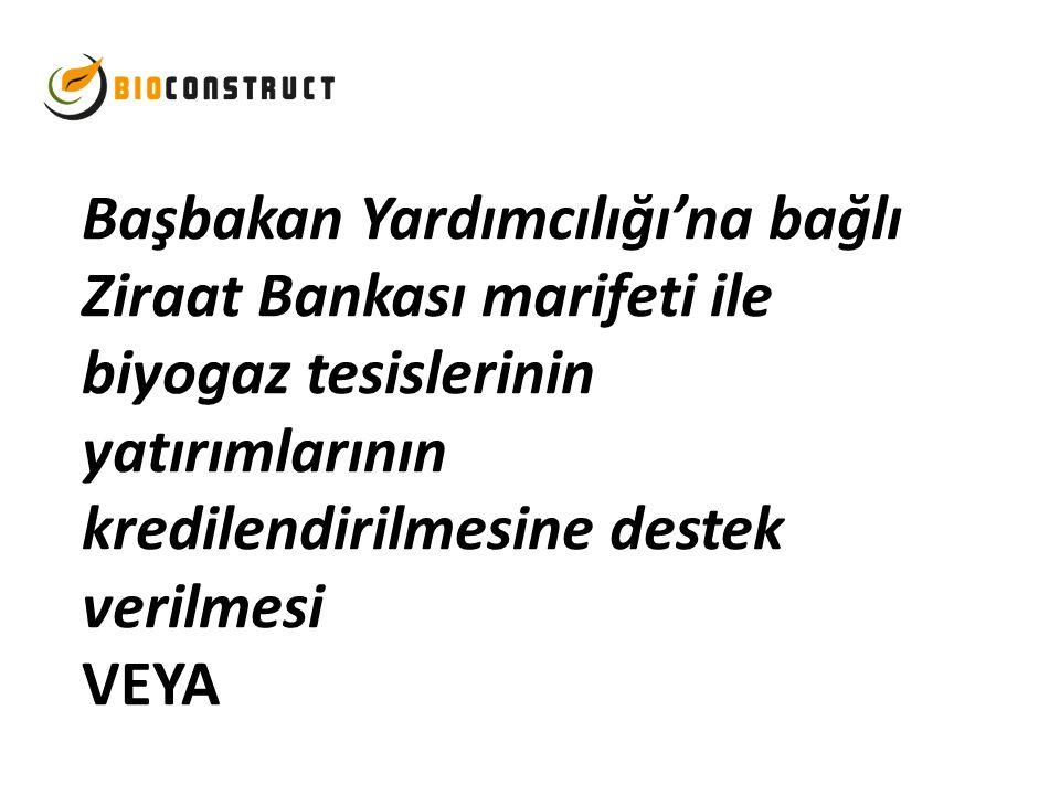 Başbakan Yardımcılığı'na bağlı Ziraat Bankası marifeti ile biyogaz tesislerinin yatırımlarının kredilendirilmesine destek verilmesi VEYA