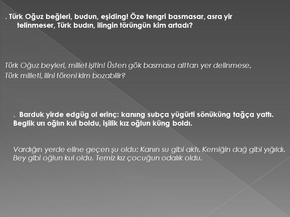 Türk Oğuz beğleri, budun, eşiding.