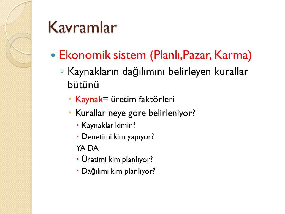 Kavramlar Ekonomik sistem (Planlı,Pazar, Karma) ◦ Kaynakların da ğ ılımını belirleyen kurallar bütünü  Kaynak= üretim faktörleri  Kurallar neye göre belirleniyor.