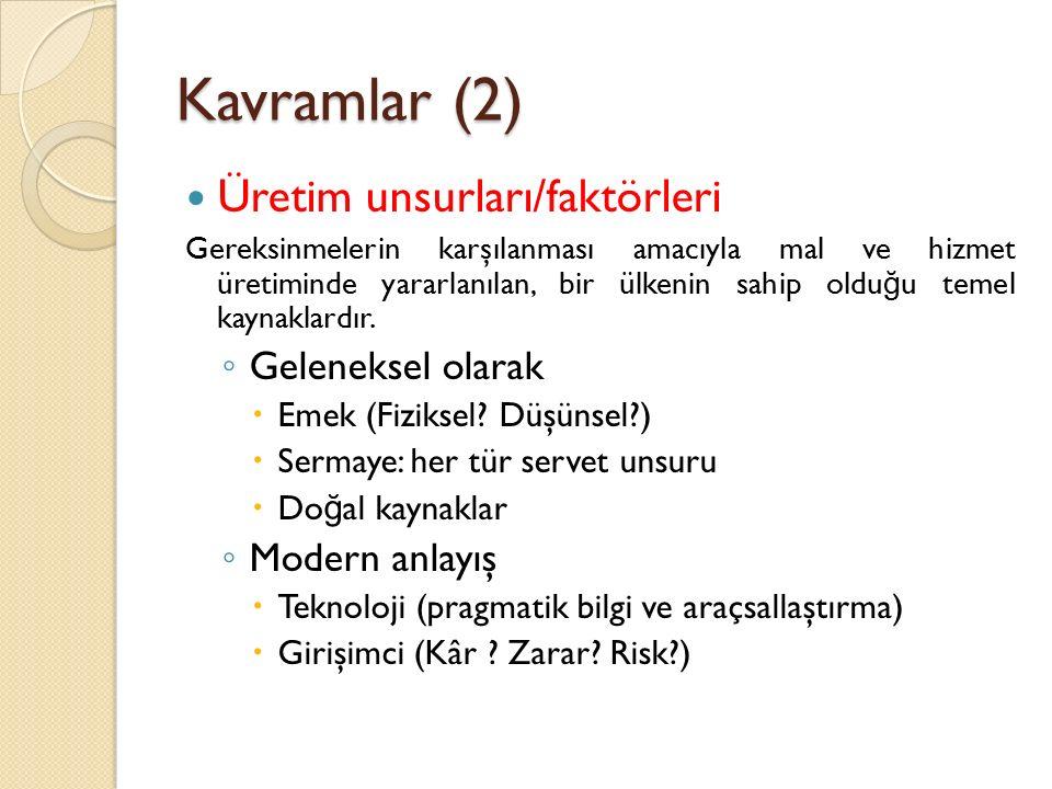 Kavramlar (3) İ htiyaç ve ihtiyaç türleri .