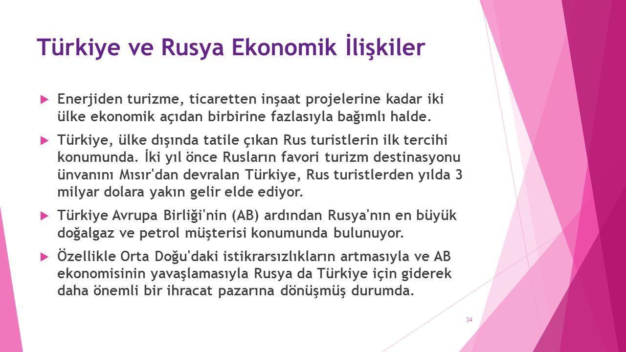Türkiye ve Rusya Ekonomik İlişkiler  Enerjiden turizme, ticaretten inşaat projelerine kadar iki ülke ekonomik açıdan birbirine fazlasıyla bağımlı halde.