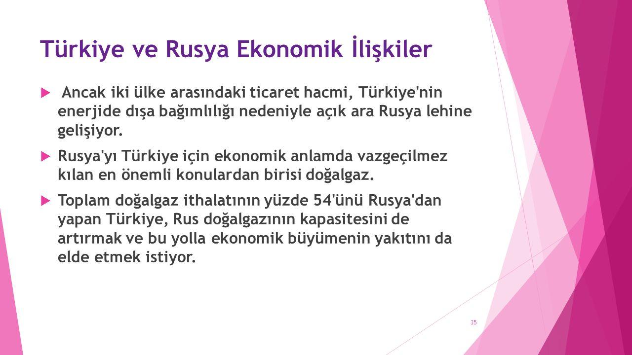 Türkiye ve Rusya Ekonomik İlişkiler  Ancak iki ülke arasındaki ticaret hacmi, Türkiye nin enerjide dışa bağımlılığı nedeniyle açık ara Rusya lehine gelişiyor.