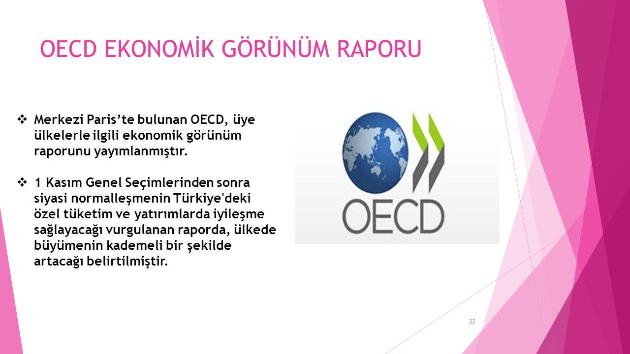 OECD EKONOMİK GÖRÜNÜM RAPORU  Merkezi Paris'te bulunan OECD, üye ülkelerle ilgili ekonomik görünüm raporunu yayımlanmıştır.