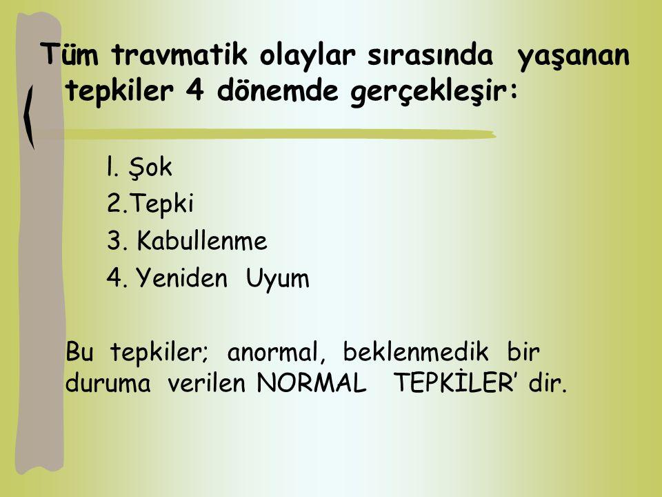 Tüm travmatik olaylar sırasında yaşanan tepkiler 4 dönemde gerçekleşir: l. Şok 2.Tepki 3. Kabullenme 4. Yeniden Uyum Bu tepkiler; anormal, beklenmedik