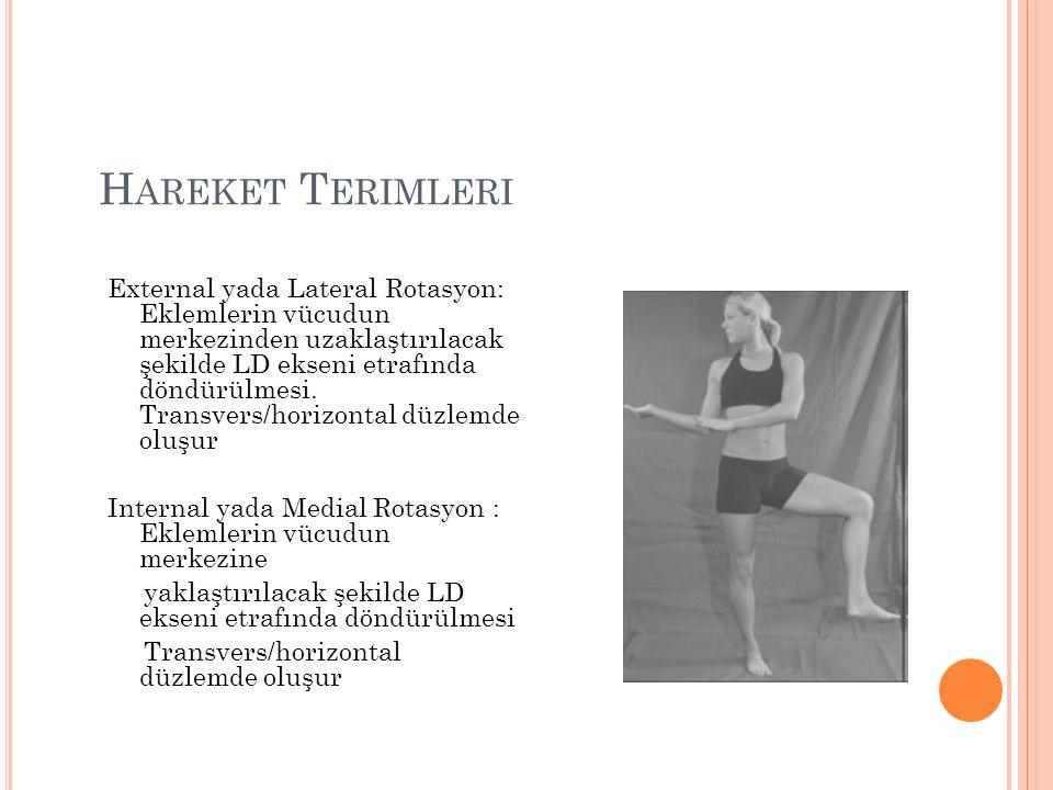 H AREKET T ERIMLERI External yada Lateral Rotasyon: Eklemlerin vücudun merkezinden uzaklaştırılacak şekilde LD ekseni etrafında döndürülmesi.