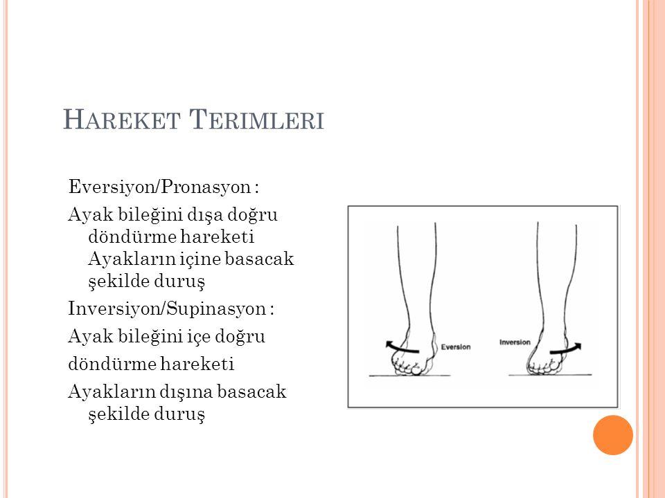 H AREKET T ERIMLERI Eversiyon/Pronasyon : Ayak bileğini dışa doğru döndürme hareketi Ayakların içine basacak şekilde duruş Inversiyon/Supinasyon : Ayak bileğini içe doğru döndürme hareketi Ayakların dışına basacak şekilde duruş