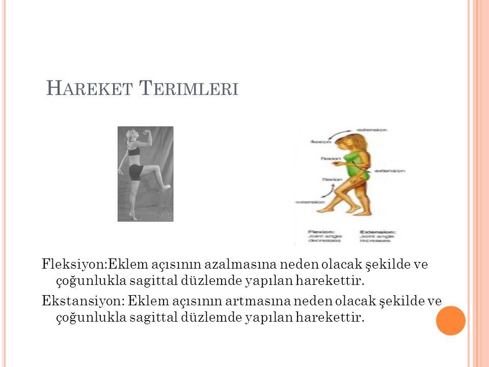H AREKET T ERIMLERI Fleksiyon:Eklem açısının azalmasına neden olacak şekilde ve çoğunlukla sagittal düzlemde yapılan harekettir.