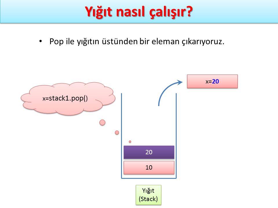 Yığıt nasıl çalışır? Yığıt (Stack) Yığıt (Stack) x= stack1.pop( ) Pop ile yığıtın üstünden bir eleman çıkarıyoruz. 10 x=20 20