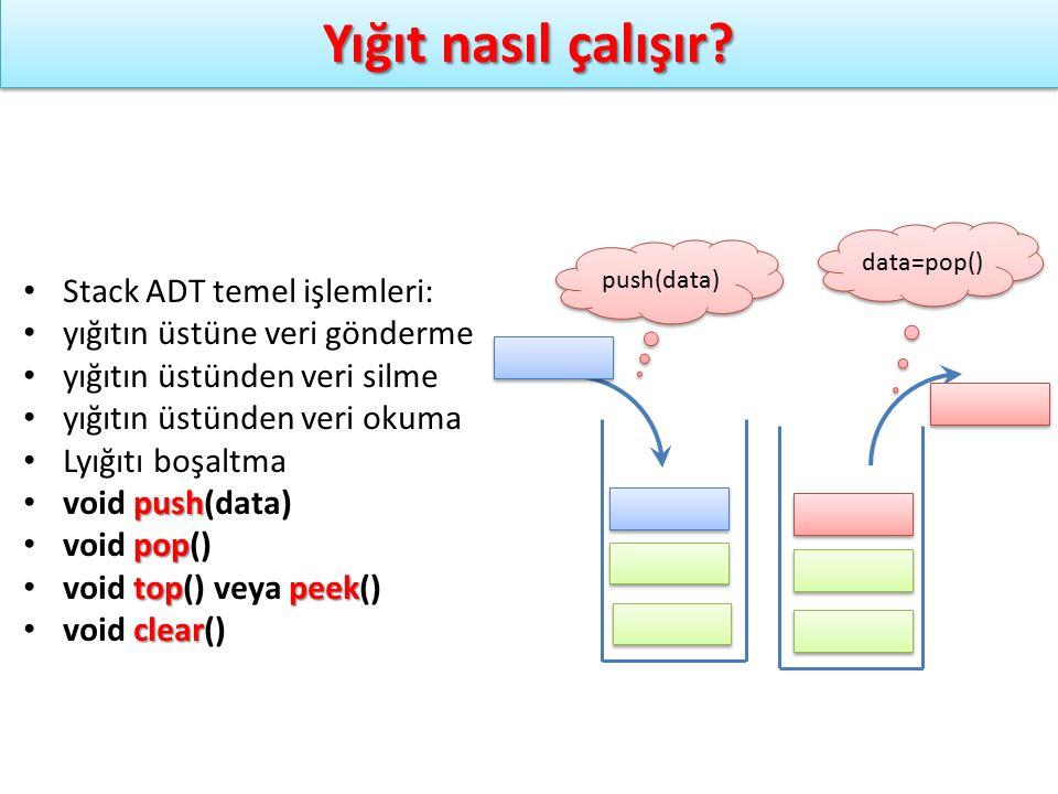 Yığıt nasıl çalışır? push(data) data=pop() Stack ADT temel işlemleri: yığıtın üstüne veri gönderme yığıtın üstünden veri silme yığıtın üstünden veri o