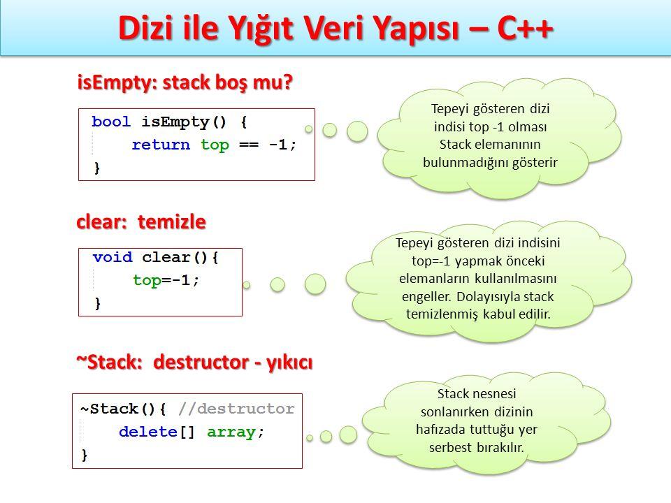Dizi ile Yığıt Veri Yapısı – C++ isEmpty: stack boş mu? clear: temizle ~Stack: destructor - yıkıcı Tepeyi gösteren dizi indisi top -1 olması Stack ele