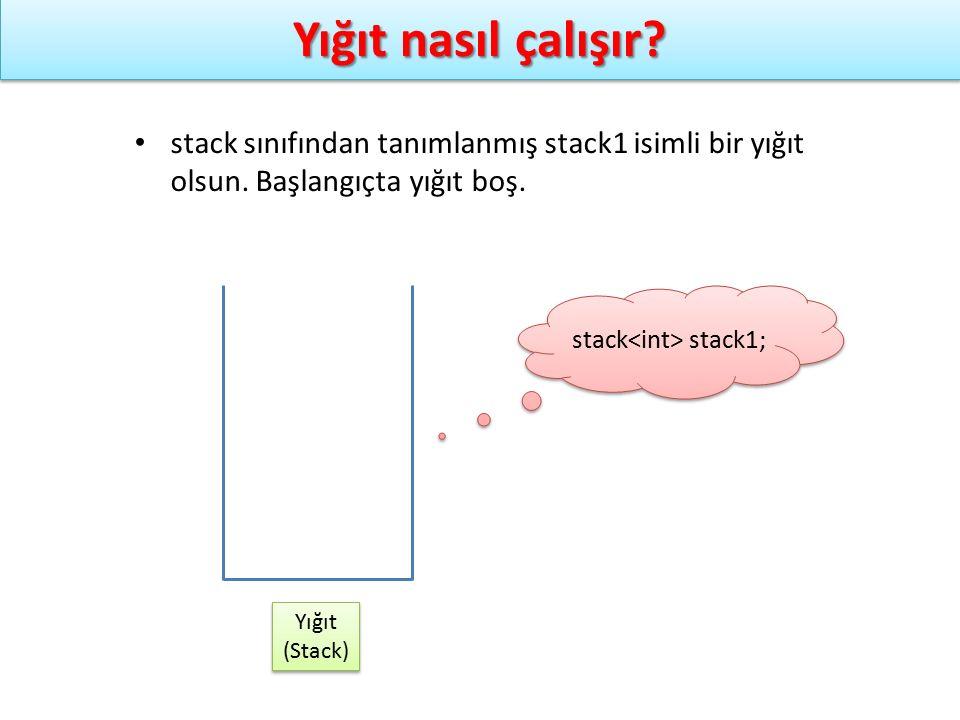 Yığıt nasıl çalışır? Yığıt (Stack) Yığıt (Stack) stack stack1; stack sınıfından tanımlanmış stack1 isimli bir yığıt olsun. Başlangıçta yığıt boş.