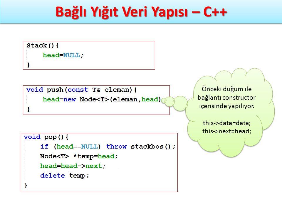 Önceki düğüm ile bağlantı constructor içerisinde yapılıyor. this->data=data; this->next=head; Önceki düğüm ile bağlantı constructor içerisinde yapılıy