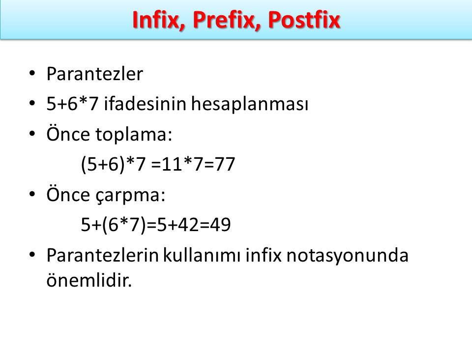 Infix, Prefix, Postfix Parantezler 5+6*7 ifadesinin hesaplanması Önce toplama: (5+6)*7 =11*7=77 Önce çarpma: 5+(6*7)=5+42=49 Parantezlerin kullanımı i