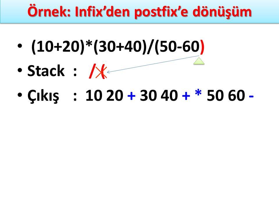 Örnek: Infix'den postfix'e dönüşüm (10+20)*(30+40)/(50-60) Stack: / ( Çıkış: 10 20 + 30 40 + * 50 60 -