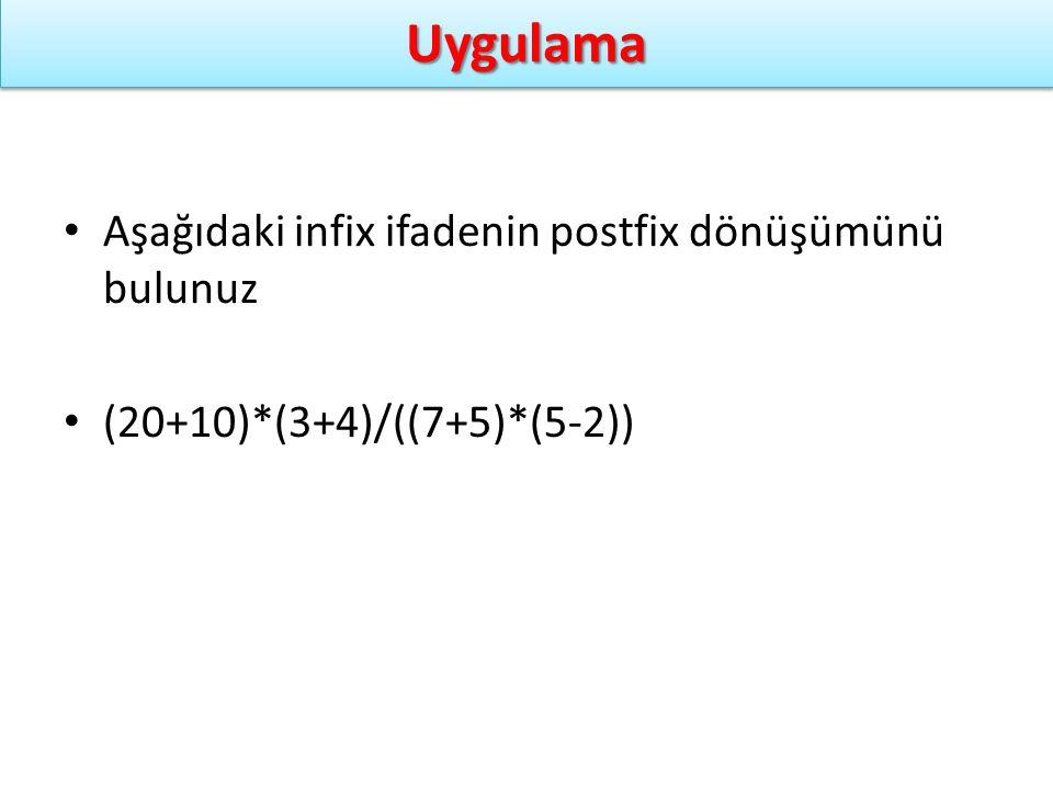 UygulamaUygulama Aşağıdaki infix ifadenin postfix dönüşümünü bulunuz (20+10)*(3+4)/((7+5)*(5-2))