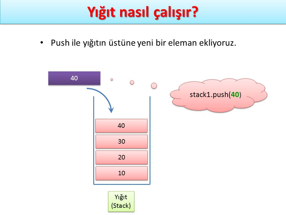 Stack ADT – Dizi ile gerçekleştirme stack1.push(Eleman0) stack1.push(Eleman1) stack1.push(Eleman2) stack1.push(Eleman3) stack1.push(Eleman4) stack1.push(Eleman5) stack1.push(Eleman0) stack1.push(Eleman1) stack1.push(Eleman2) stack1.push(Eleman3) stack1.push(Eleman4) stack1.push(Eleman5) Eleman5 Eleman4 Eleman3 Eleman2 Eleman0 Eleman1 stack1 Top=5 kapasite Dizi[0] Dizi[1] Dizi[2] Dizi[3] Dizi[4] Dizi[5] Dizi[6] Dizi[7]