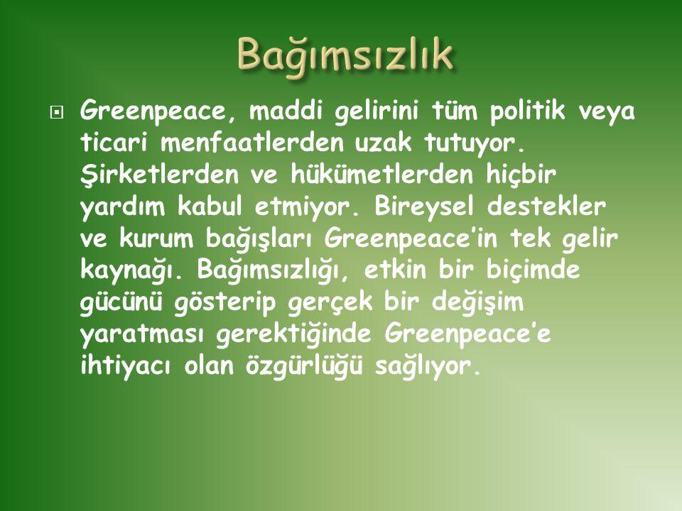  Greenpeace, maddi gelirini tüm politik veya ticari menfaatlerden uzak tutuyor. Şirketlerden ve hükümetlerden hiçbir yardım kabul etmiyor. Bireysel d