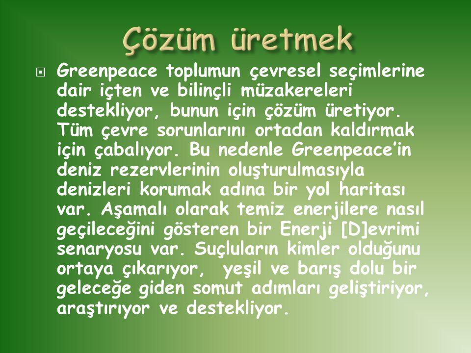  Greenpeace toplumun çevresel seçimlerine dair içten ve bilinçli müzakereleri destekliyor, bunun için çözüm üretiyor. Tüm çevre sorunlarını ortadan k