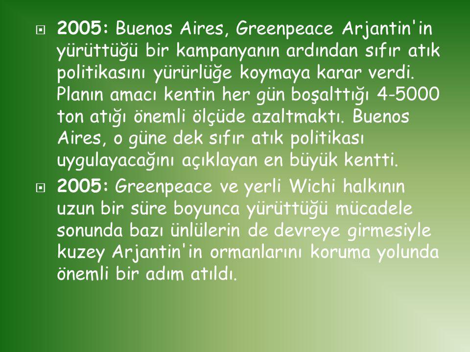  2005: Buenos Aires, Greenpeace Arjantin'in yürüttüğü bir kampanyanın ardından sıfır atık politikasını yürürlüğe koymaya karar verdi. Planın amacı ke