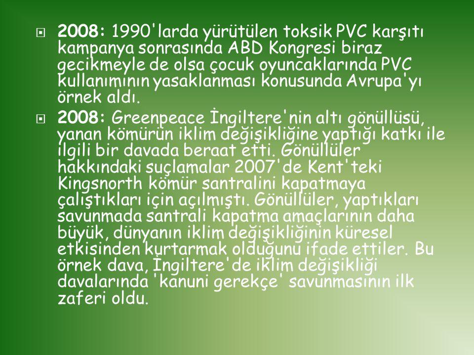  2008: 1990'larda yürütülen toksik PVC karşıtı kampanya sonrasında ABD Kongresi biraz gecikmeyle de olsa çocuk oyuncaklarında PVC kullanımının yasakl