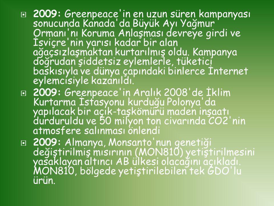  2009: Greenpeace'in en uzun süren kampanyası sonucunda Kanada'da Büyük Ayı Yağmur Ormanı'nı Koruma Anlaşması devreye girdi ve İsviçre'nin yarısı kad