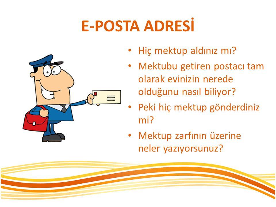 E-POSTA ADRESİ Hiç mektup aldınız mı? Mektubu getiren postacı tam olarak evinizin nerede olduğunu nasıl biliyor? Peki hiç mektup gönderdiniz mi? Mektu