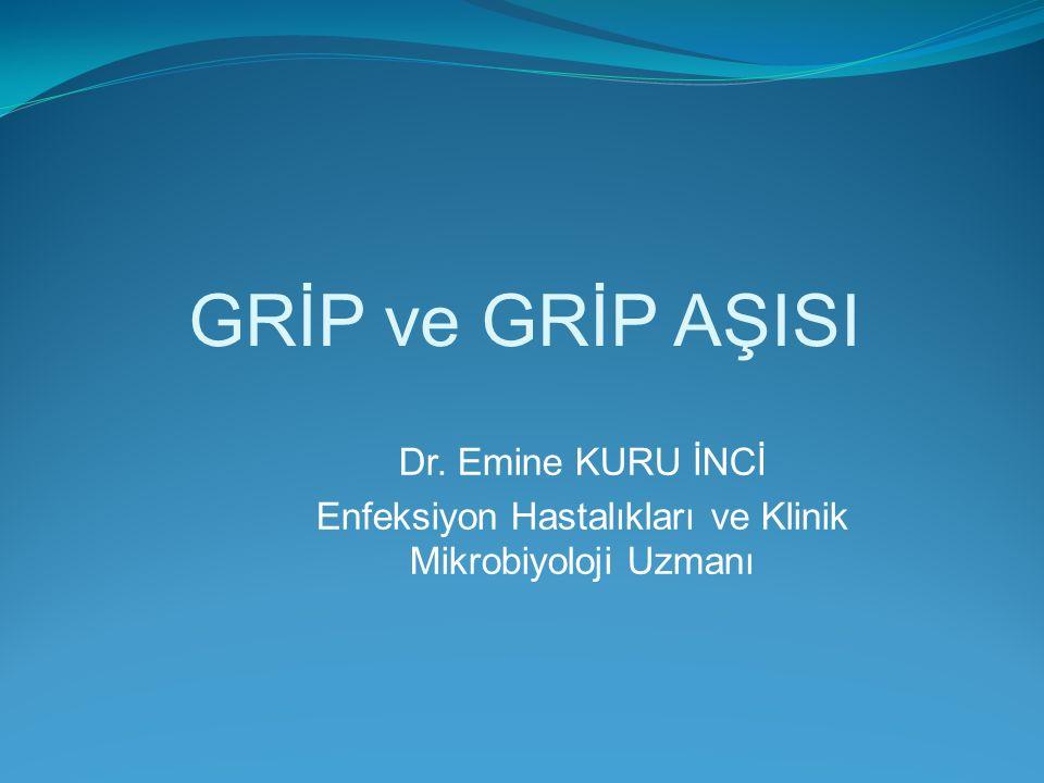GRİP ve GRİP AŞISI Dr. Emine KURU İNCİ Enfeksiyon Hastalıkları ve Klinik Mikrobiyoloji Uzmanı