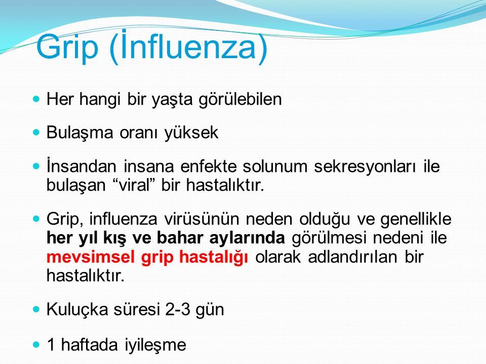 """Grip (İnfluenza) Her hangi bir yaşta görülebilen Bulaşma oranı yüksek İnsandan insana enfekte solunum sekresyonları ile bulaşan """"viral"""" bir hastalıktı"""