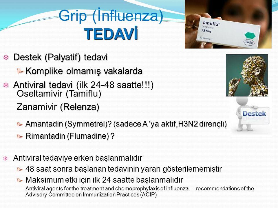  Destek (Palyatif) tedavi  Komplike olmamış vakalarda  Antiviral tedavi  Antiviral tedavi (ilk 24-48 saatte!!!) Oseltamivir (Tamiflu) (Relenza) Za