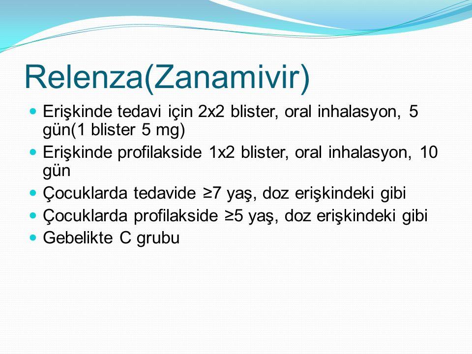 Relenza(Zanamivir) Erişkinde tedavi için 2x2 blister, oral inhalasyon, 5 gün(1 blister 5 mg) Erişkinde profilakside 1x2 blister, oral inhalasyon, 10 g