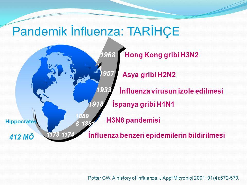 412 MÖ 1918 1933 1957 1968 Asya gribi H2N2 Hong Kong gribi H3N2 İnfluenza virusun izole edilmesi İspanya gribi H1N1 Hippocrates 1173-1174 İnfluenza be