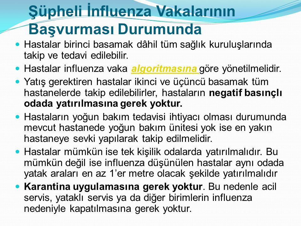 Şüpheli İnfluenza Vakalarının Başvurması Durumunda Hastalar birinci basamak dâhil tüm sağlık kuruluşlarında takip ve tedavi edilebilir. Hastalar influ