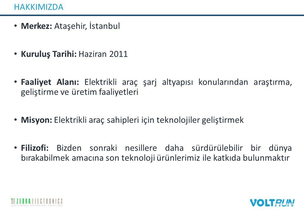 HAKKIMIZDA Merkez: Ataşehir, İstanbul Kuruluş Tarihi: Haziran 2011 Faaliyet Alanı: Elektrikli araç şarj altyapısı konularından araştırma, geliştirme ve üretim faaliyetleri Misyon: Elektrikli araç sahipleri için teknolojiler geliştirmek Filizofi: Bizden sonraki nesillere daha sürdürülebilir bir dünya bırakabilmek amacına son teknoloji ürünlerimiz ile katkıda bulunmaktır