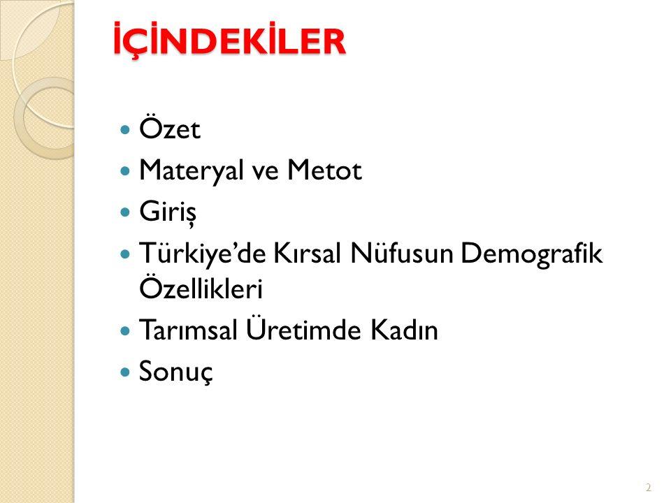 İ Ç İ NDEK İ LER Özet Materyal ve Metot Giriş Türkiye'de Kırsal Nüfusun Demografik Özellikleri Tarımsal Üretimde Kadın Sonuç 2