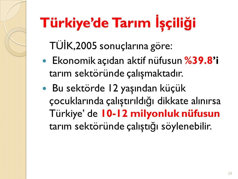 Türkiye'de Tarım İ şçili ğ i TÜ İ K,2005 sonuçlarına göre: Ekonomik açıdan aktif nüfusun %39.8'i tarım sektöründe çalışmaktadır. Bu sektörde 12 yaşınd