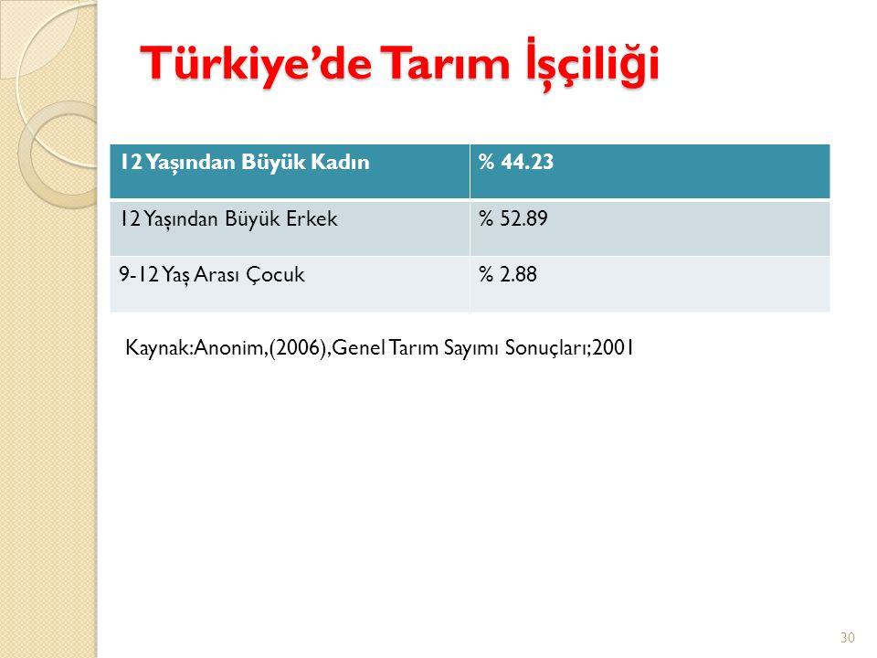 Türkiye'de Tarım İ şçili ğ i 12 Yaşından Büyük Kadın% 44.23 12 Yaşından Büyük Erkek% 52.89 9-12 Yaş Arası Çocuk% 2.88 30 Kaynak:Anonim,(2006),Genel Ta