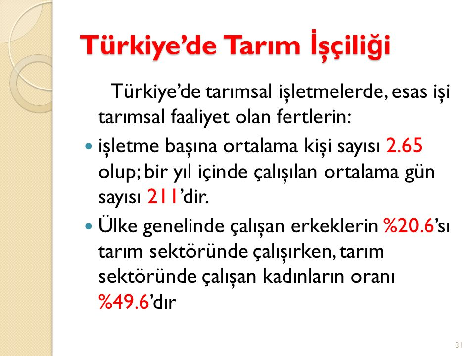 Türkiye'de Tarım İ şçili ğ i Türkiye'de tarımsal işletmelerde, esas işi tarımsal faaliyet olan fertlerin: işletme başına ortalama kişi sayısı 2.65 olu