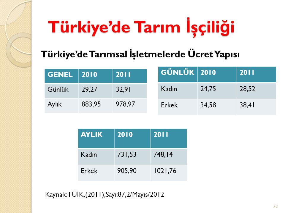 Türkiye'de Tarım İ şçili ğ i GENEL20102011 Günlük29,2732,91 Aylık883,95978,97 32 GÜNLÜK20102011 Kadın24,7528,52 Erkek34,5838,41 AYLIK20102011 Kadın731