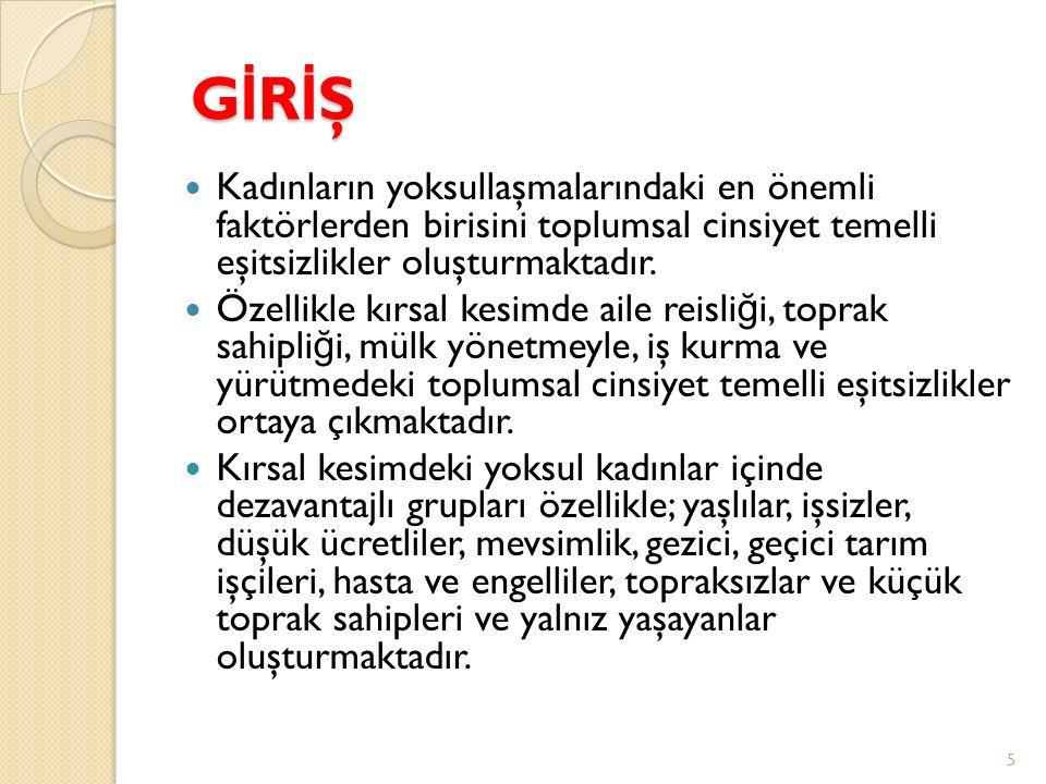 GİRİŞGİRİŞGİRİŞGİRİŞ Kadınların yoksullaşmalarındaki en önemli faktörlerden birisini toplumsal cinsiyet temelli eşitsizlikler oluşturmaktadır. Özellik
