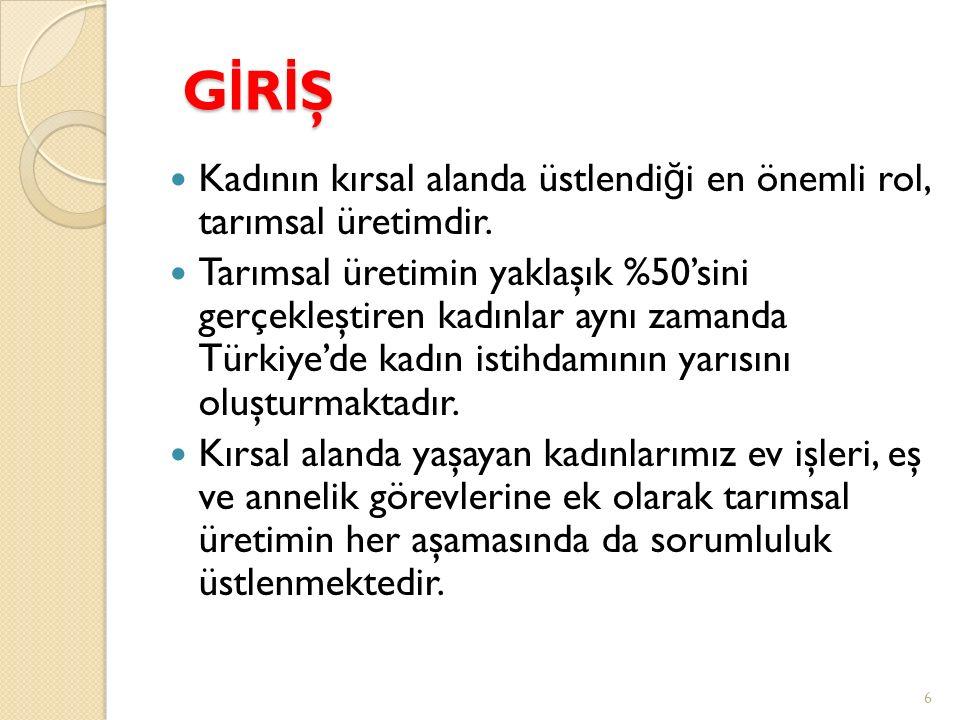 GİRİŞGİRİŞGİRİŞGİRİŞ Tüm dünyada oldu ğ u gibi Türkiye'de de kırdan kente göç arttıkça ve makineleşme düzeyi yükseldikçe tarımsal üretimde statüsü yüksek, sermaye-yo ğ un, teknoloji-yo ğ un işler erkekler tarafından yapılırken, statüsü düşük, emek-yo ğ un işler ço ğ unlukla kadınlara kalmaktadır.