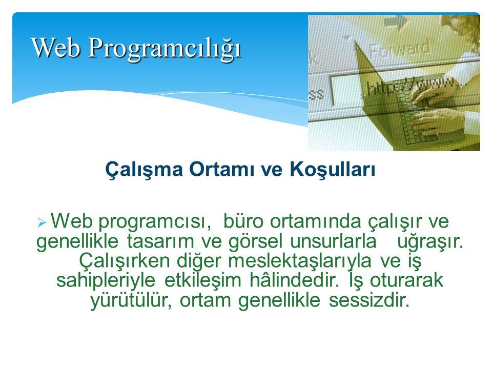 Çalışma Ortamı ve Koşulları  Web programcısı, büro ortamında çalışır ve genellikle tasarım ve görsel unsurlarla uğraşır. Çalışırken diğer meslektaşla