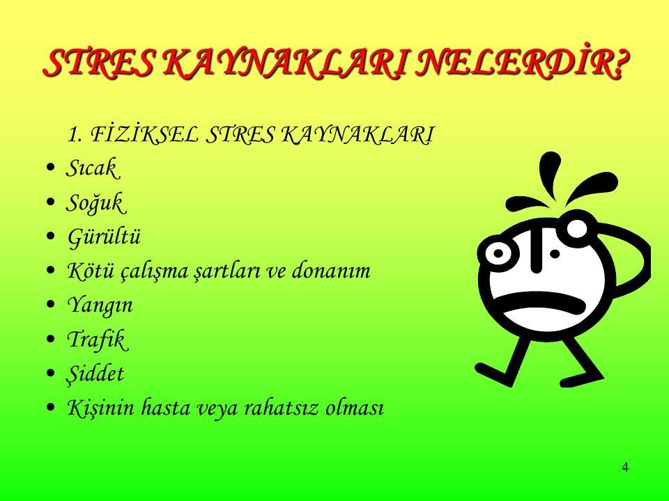 4 STRES KAYNAKLARI NELERDİR. 1.