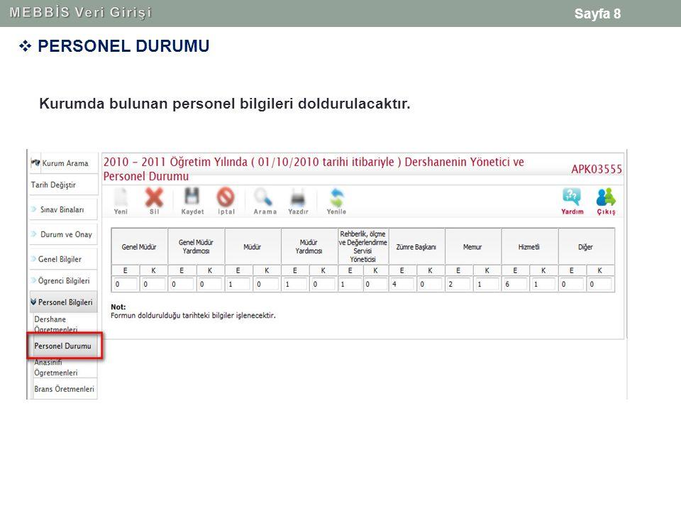 Sayfa 8  PERSONEL DURUMU Kurumda bulunan personel bilgileri doldurulacaktır.