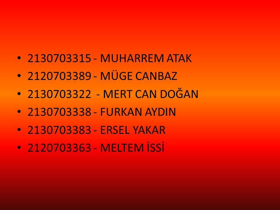2130703315 - MUHARREM ATAK 2120703389 - MÜGE CANBAZ 2130703322 - MERT CAN DOĞAN 2130703338 - FURKAN AYDIN 2130703383 - ERSEL YAKAR 2120703363 - MELTEM