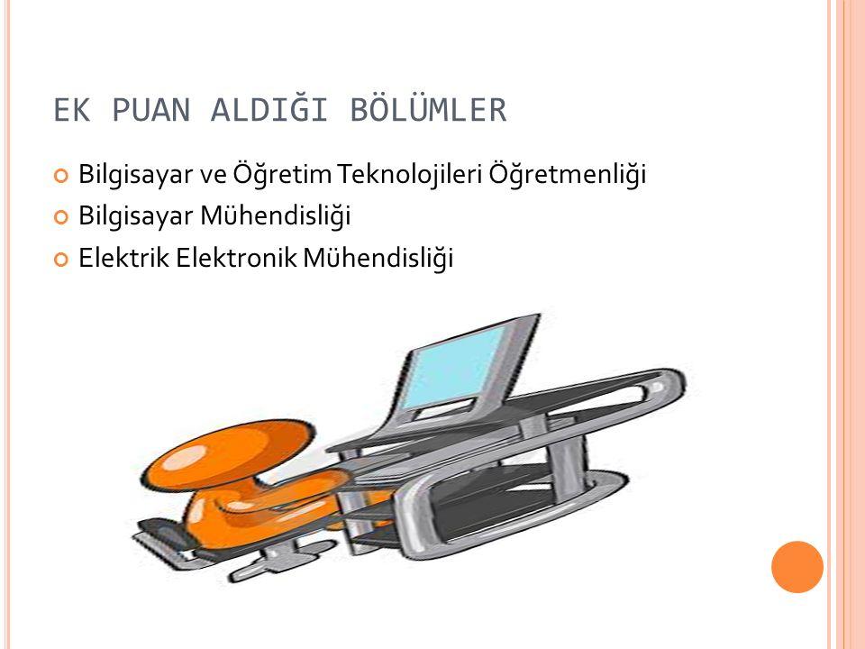 EK PUAN ALDIĞI BÖLÜMLER Bilgisayar ve Öğretim Teknolojileri Öğretmenliği Bilgisayar Mühendisliği Elektrik Elektronik Mühendisliği