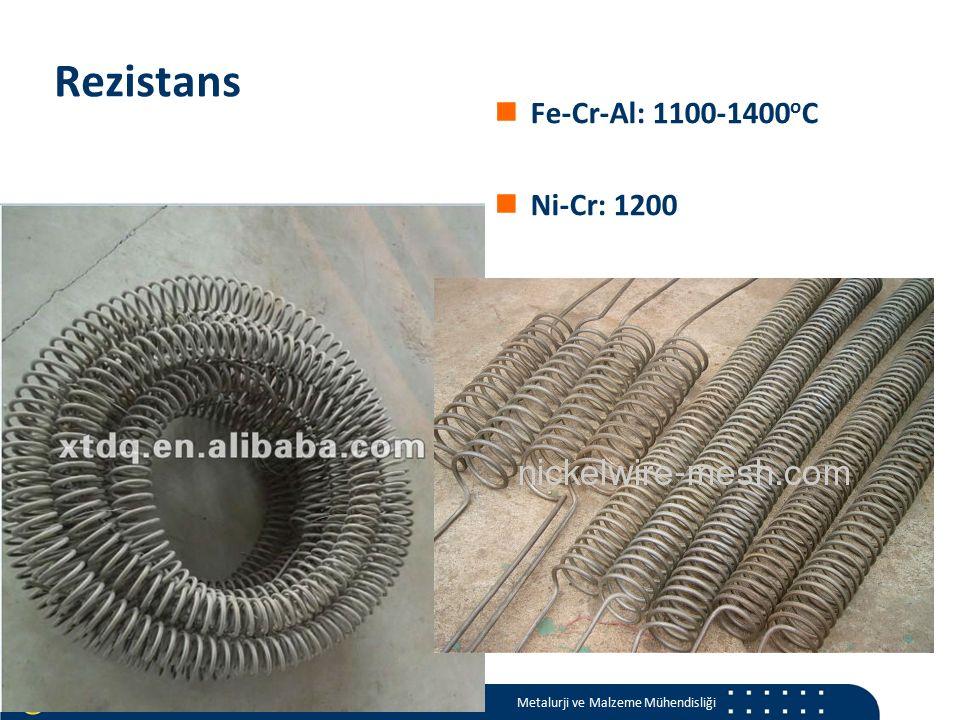 Materials and Chemistry İstanbul Üniversitesi Metalurji ve Malzeme Mühendisliği İstanbul Üniversitesi Metalurji ve Malzeme Mühendisliği Rezistans Fe-Cr-Al: 1100-1400 o C Ni-Cr: 1200