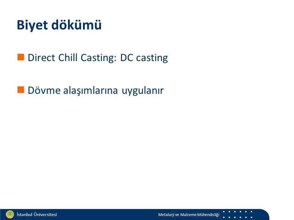Materials and Chemistry İstanbul Üniversitesi Metalurji ve Malzeme Mühendisliği İstanbul Üniversitesi Metalurji ve Malzeme Mühendisliği Biyet dökümü Direct Chill Casting: DC casting Dövme alaşımlarına uygulanır