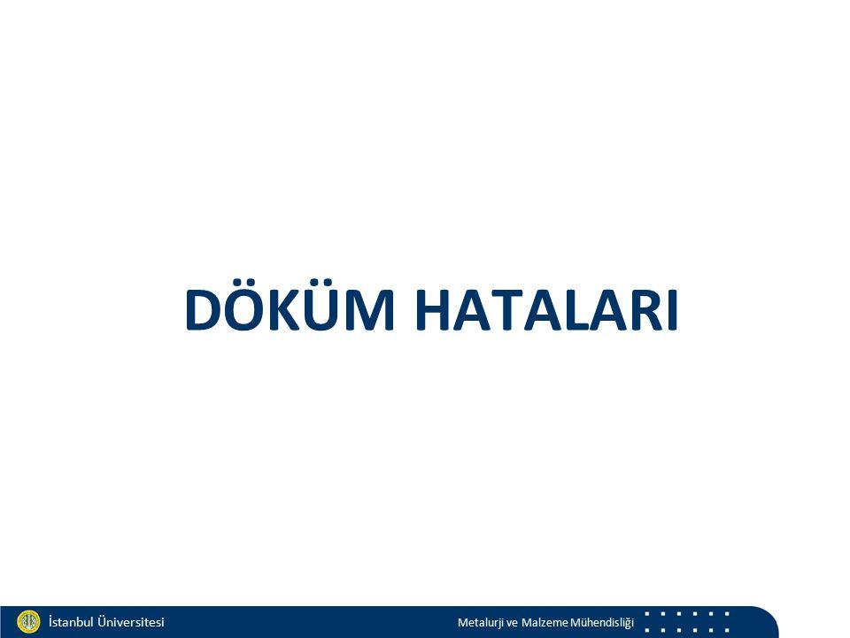Materials and Chemistry İstanbul Üniversitesi Metalurji ve Malzeme Mühendisliği İstanbul Üniversitesi Metalurji ve Malzeme Mühendisliği DÖKÜM HATALARI