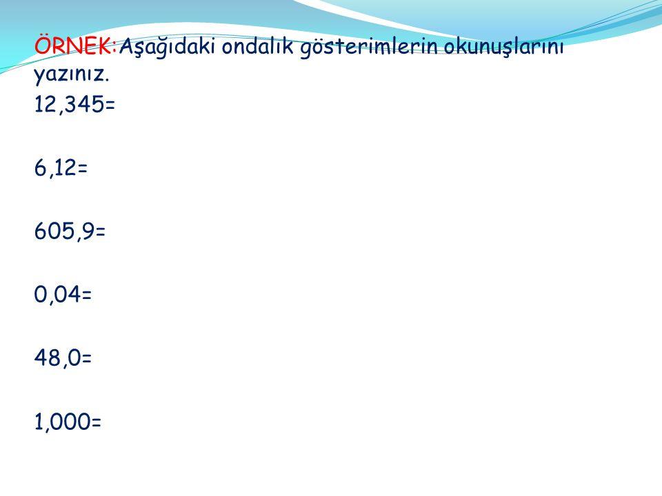 ONDALIK SAYILARDA SIRALAMA Ondalık gösterimle verilen sayıları sıralarken; Önce tam kısımları karşılaştırılır.